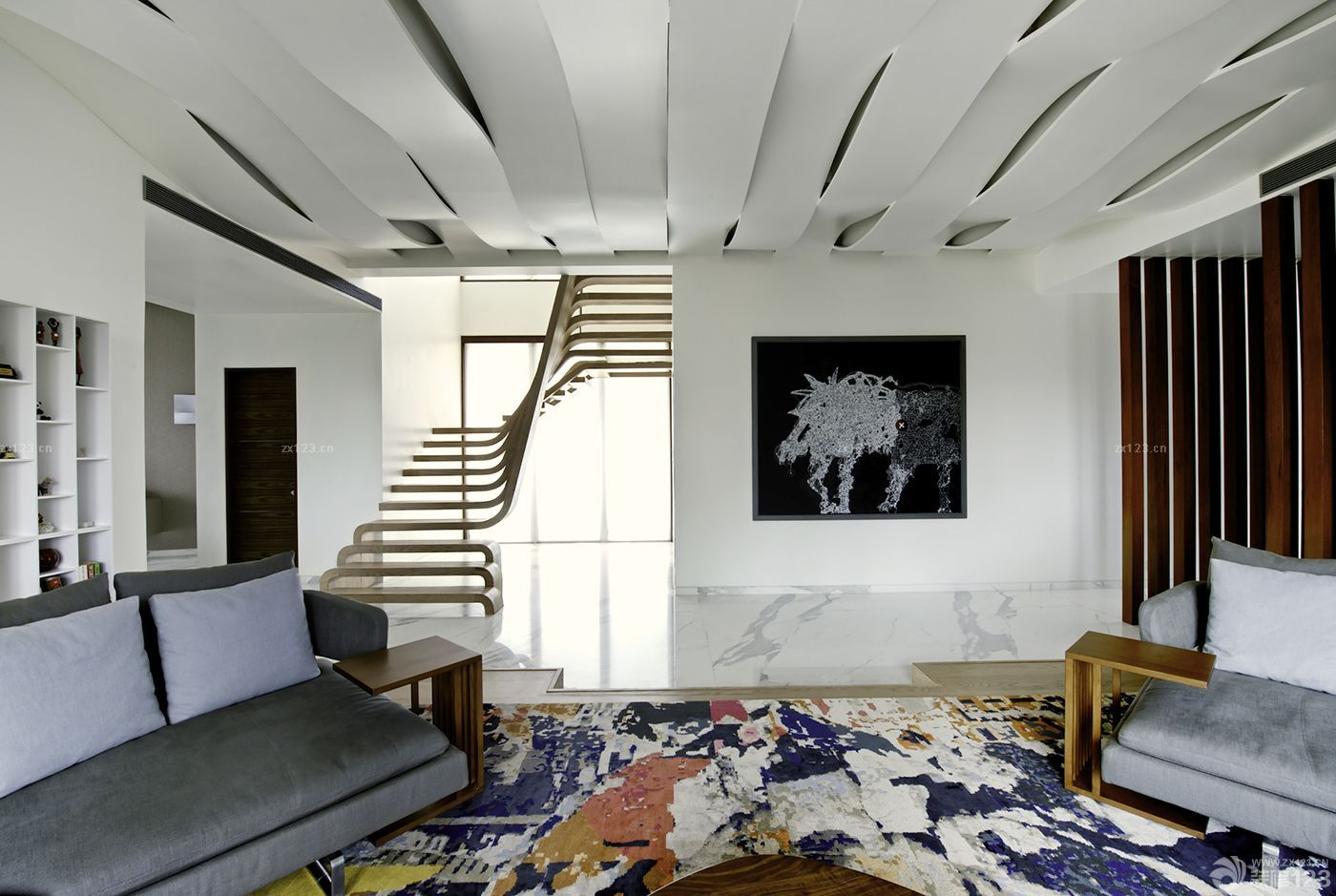 铝板吊顶装修效果图_2020个性140平米复式楼艺术吊顶装修样板_设计456装修效果图