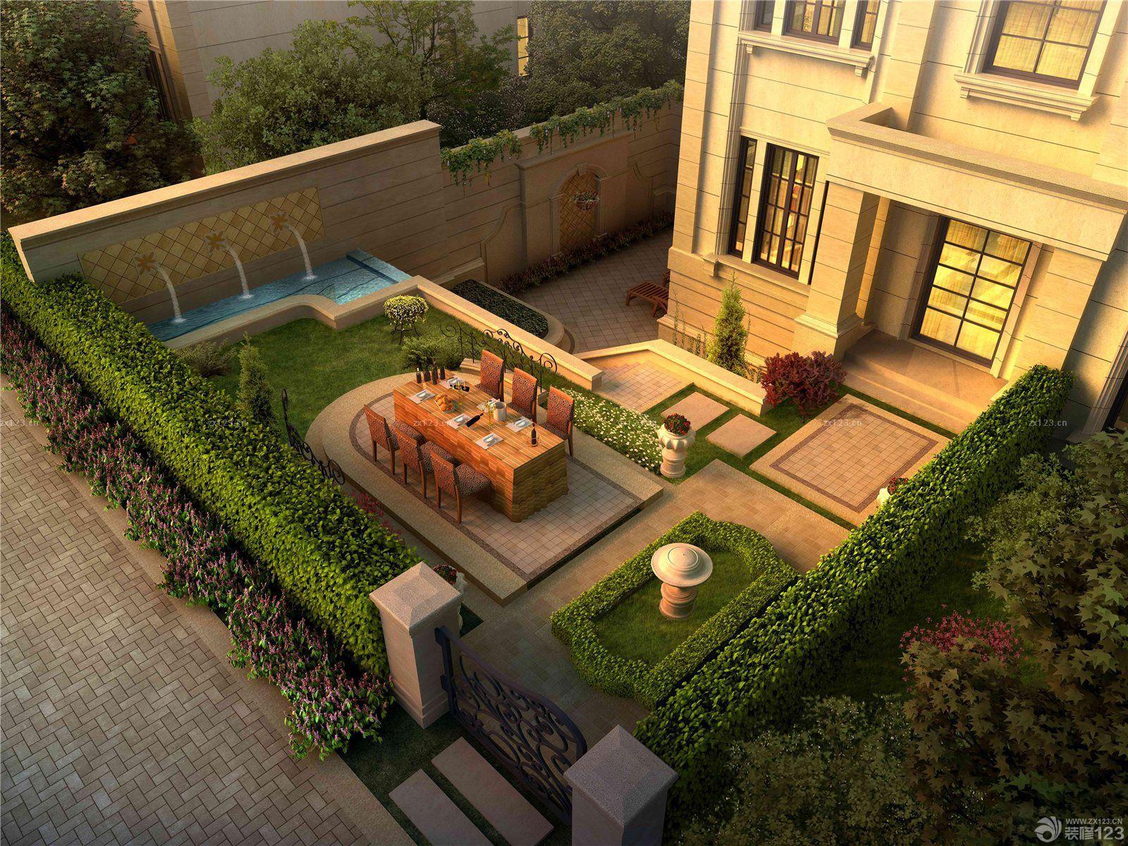 欧式新古典风格别墅庭院设计效果图欣赏
