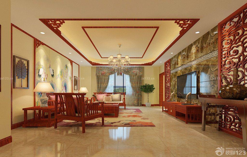 中式风格150平米房子客厅窗帘设计图片