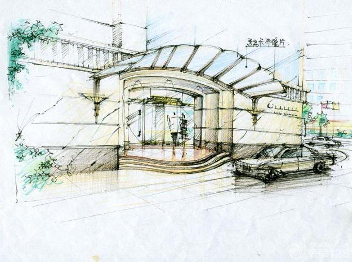 现代展厅门头展示设计手绘图