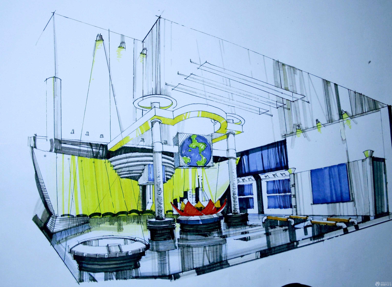 简约时尚科技展厅设计手绘效果图