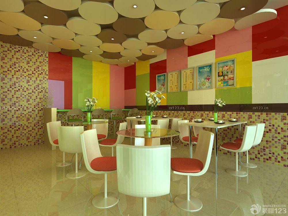 奶茶店艺术吊顶装修设计效果图片欣赏