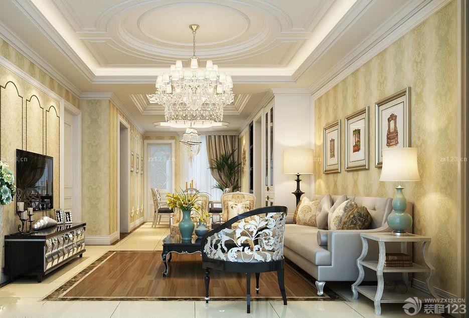2016最新大户型客厅欧式沙发背景墙装修设计图片