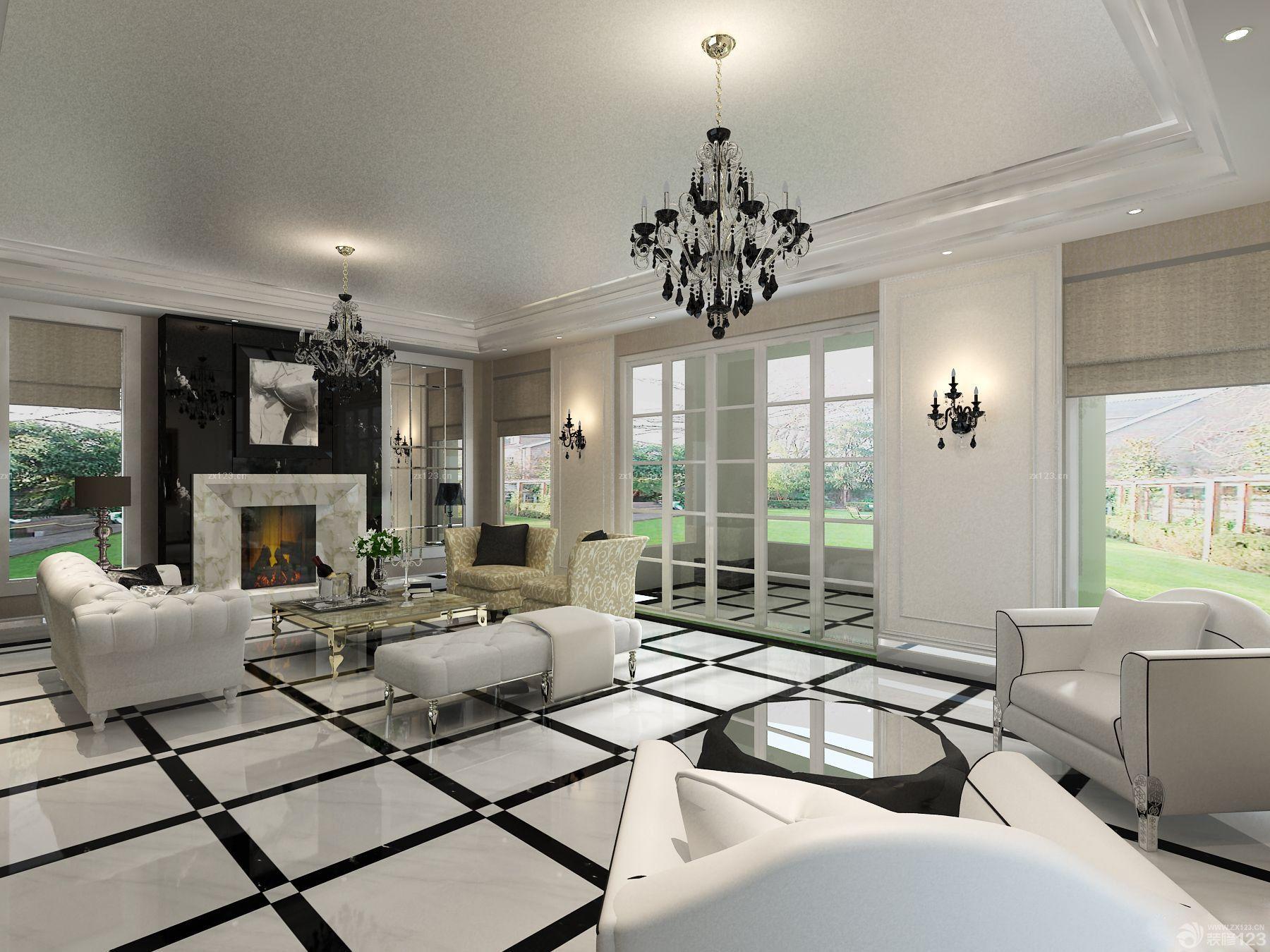 最新美式别墅客厅东鹏瓷砖装修图片