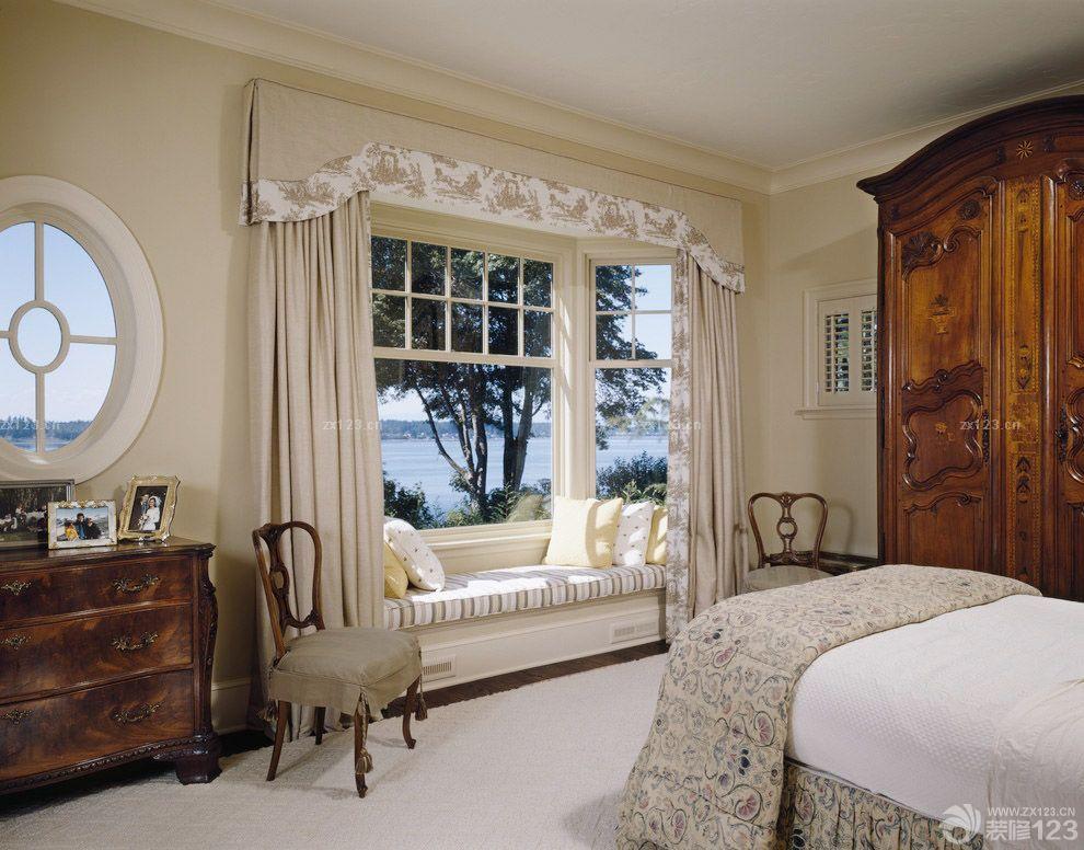 美式风格主卧室欧式飘窗窗帘设计图片