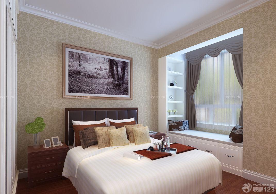 主卧室欧式飘窗窗帘设计图片