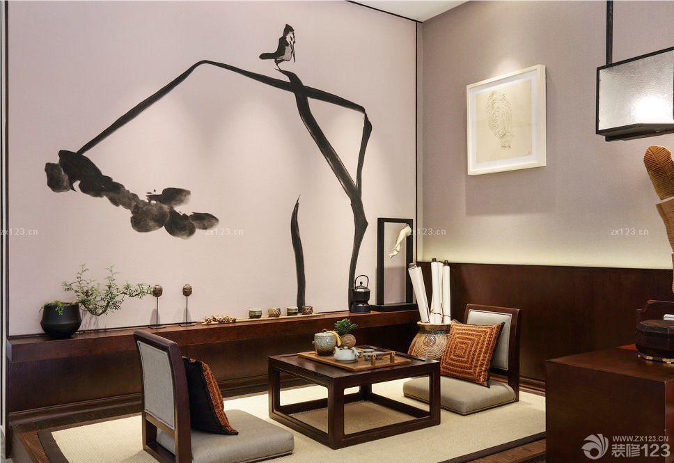 创意日式书房手绘墙画设计效果图片
