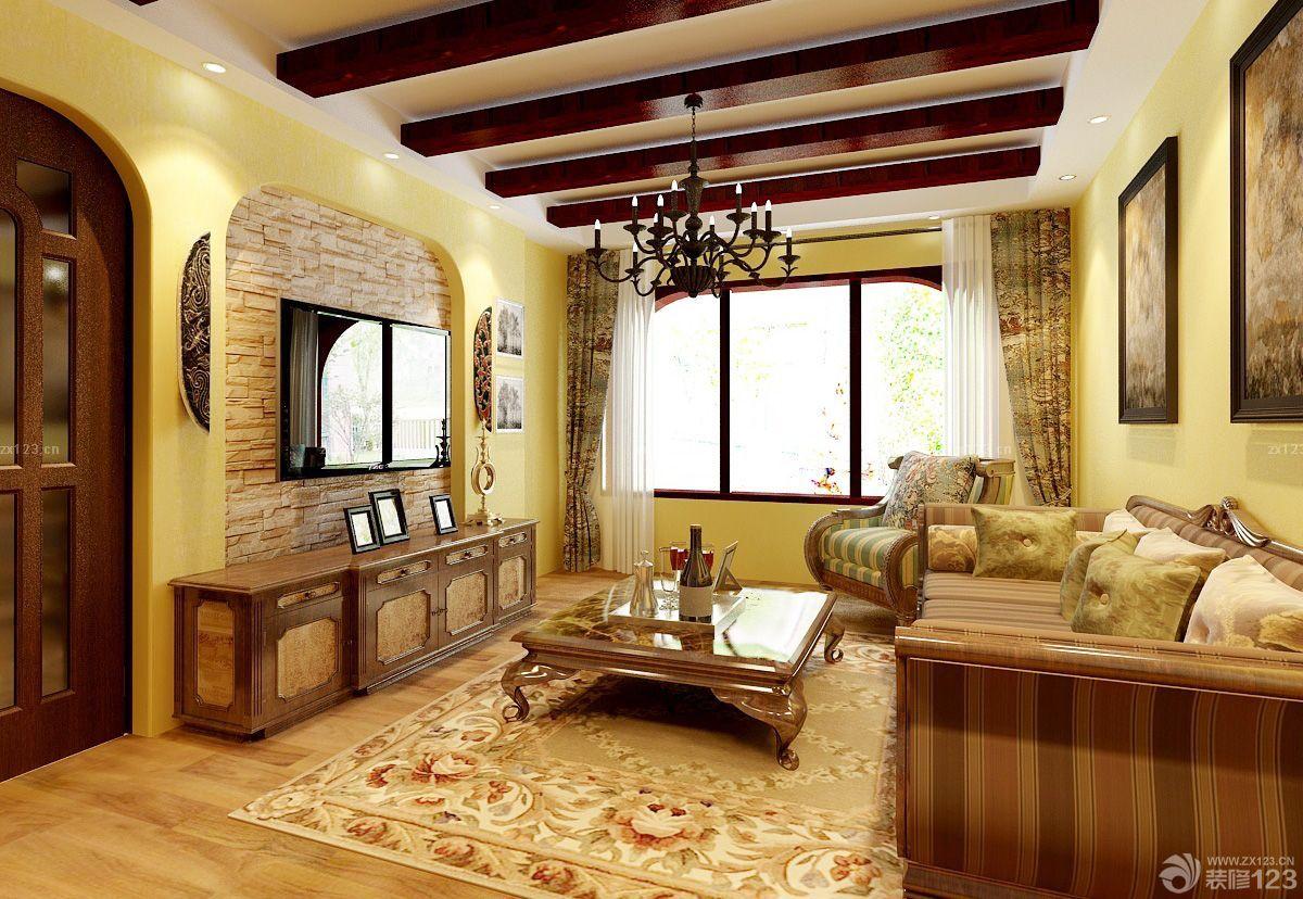 家装美式田园风格客厅美式沙发装修设计图片