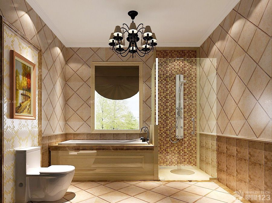 最新简欧风格浴室墙面马赛克瓷砖贴图