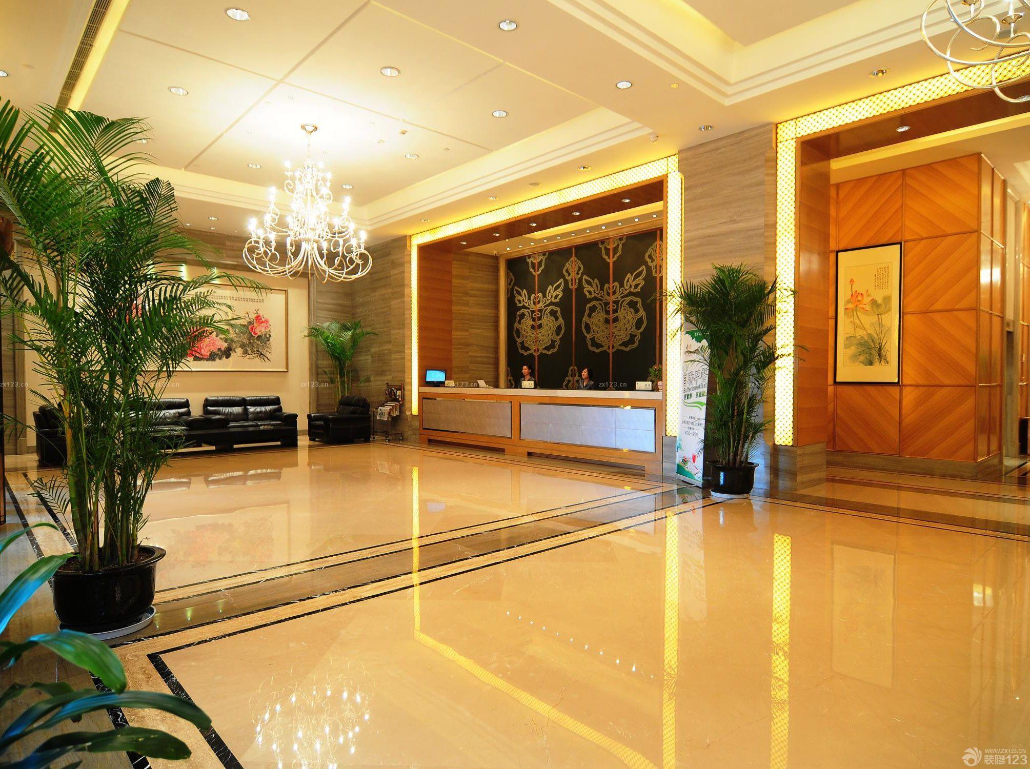 宾馆大堂地板砖装修实景图欣赏_2016室内装修效果图