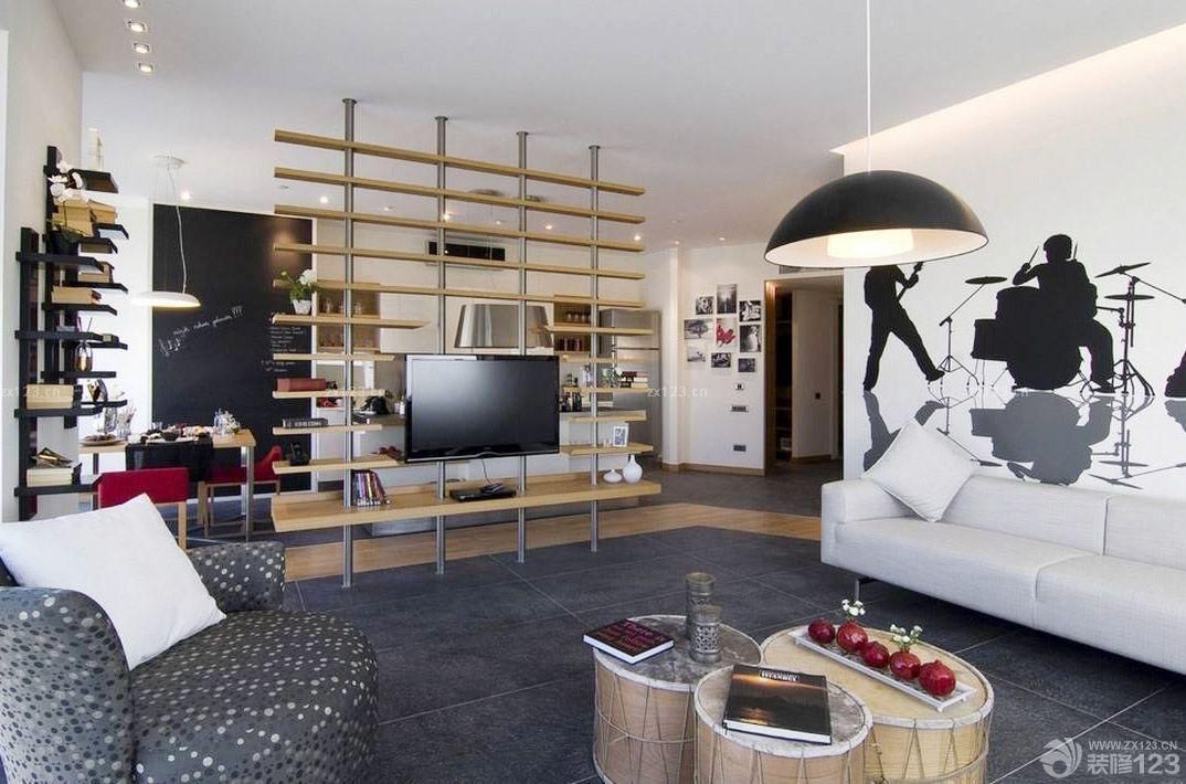 时尚客厅电视背景墙壁纸设计效果图