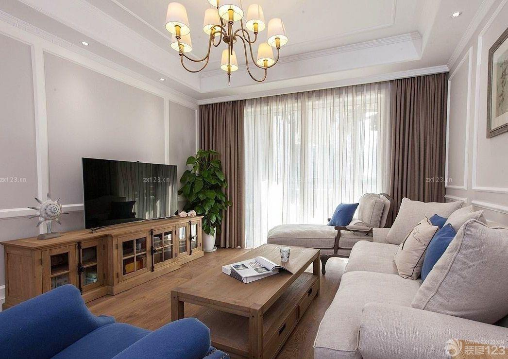 普通家庭客厅 美式实木电视柜装修效果图欣赏