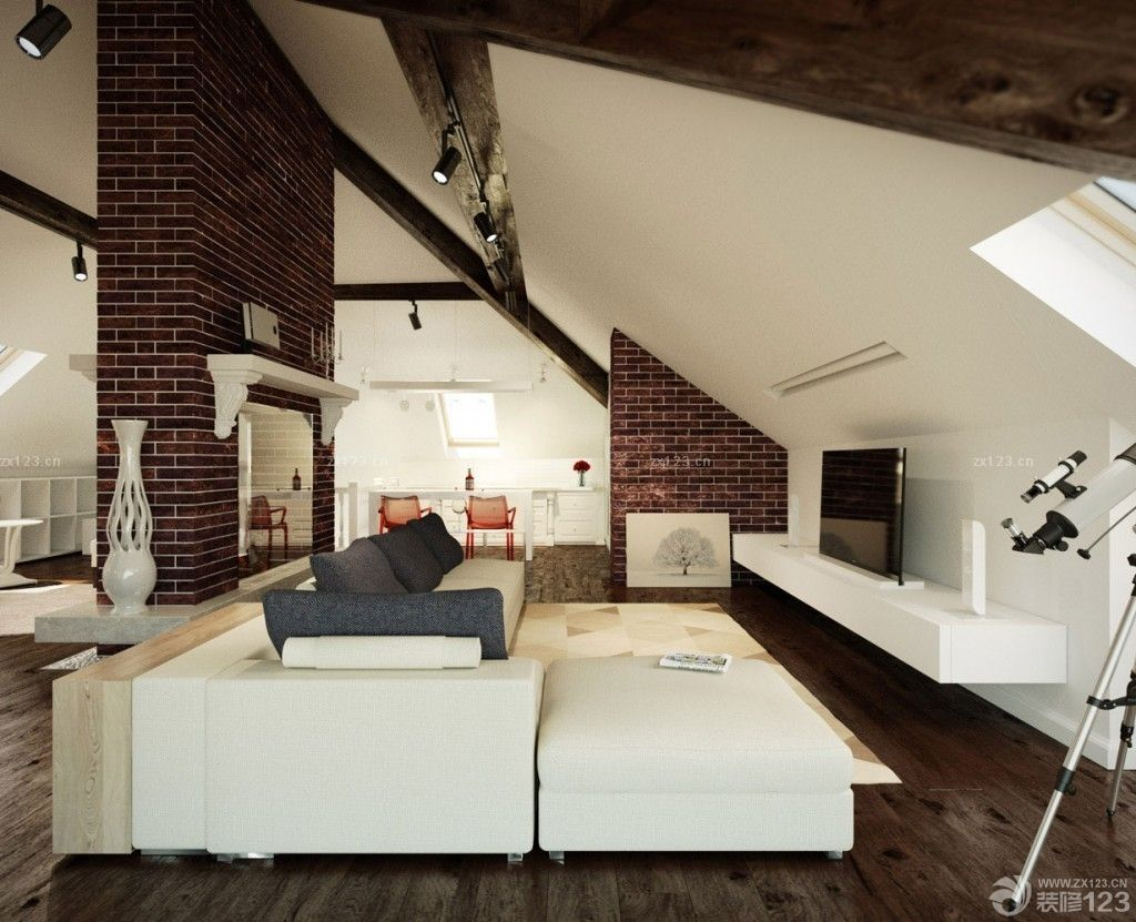 阁楼装修样板间转角沙发摆放效果图