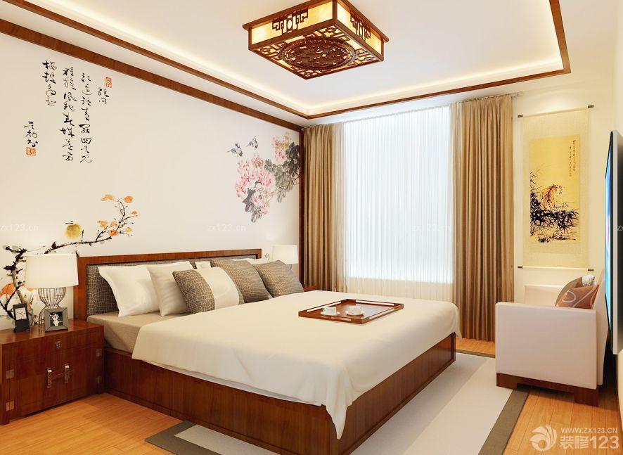 中式主卧室窗帘设计图片_设计456装修效果图
