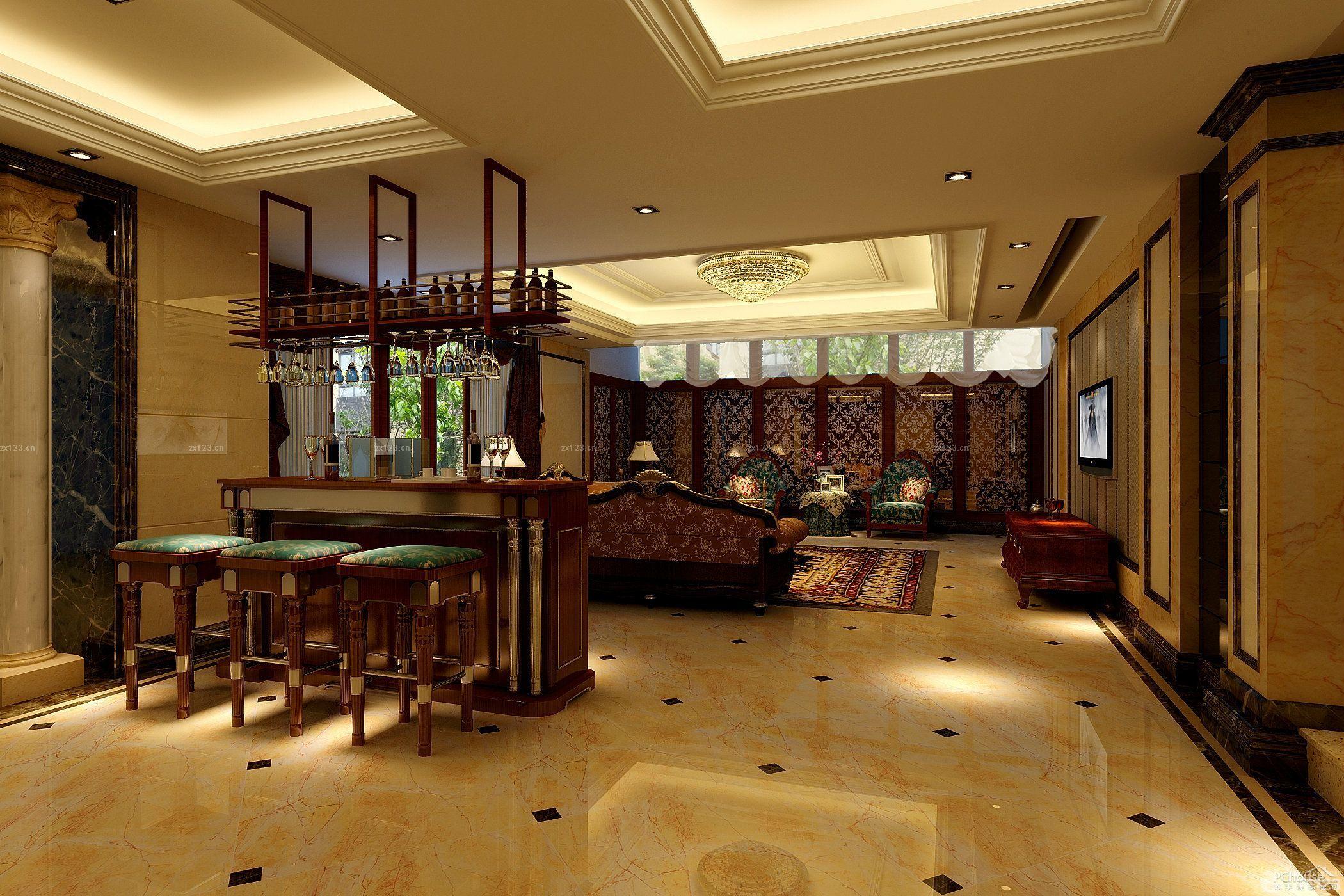 欧式新古典风格电梯洋房客厅布置效果图欣赏