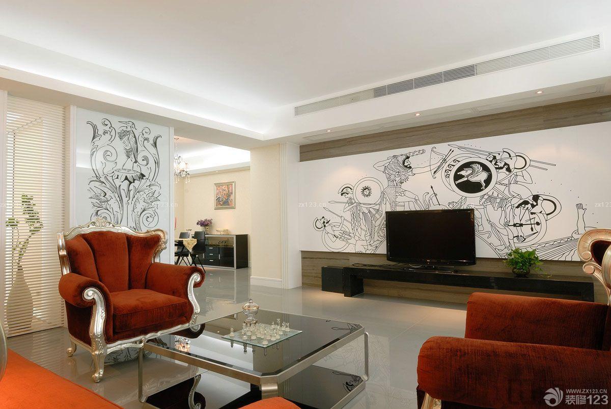 后现代窗帘效果图_90平后现代客厅背景墙造型设计图片大全_设计456装修效果图