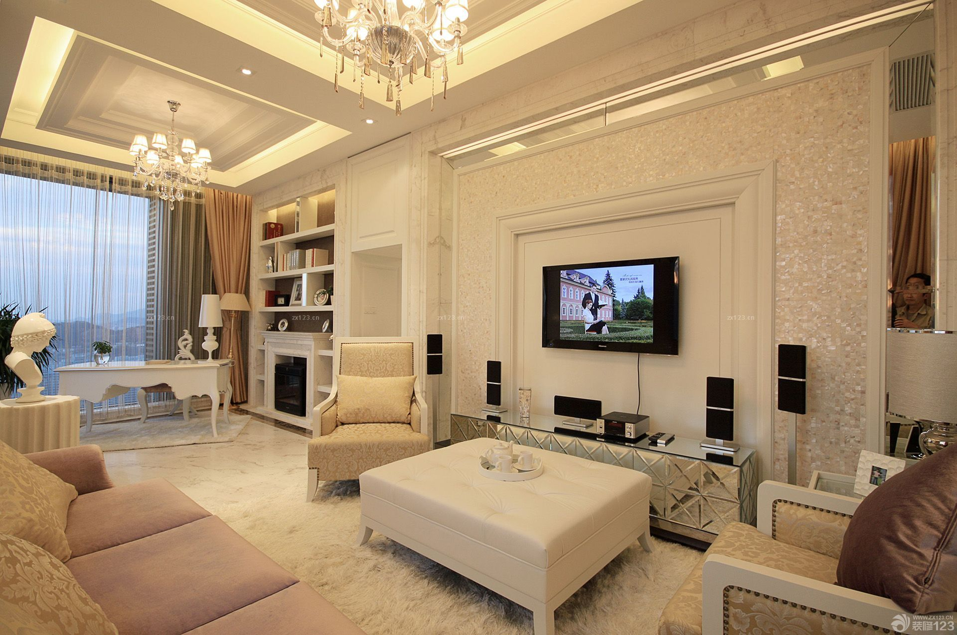 80平方房子客厅兼书房装修效果图 设计456装修效果图