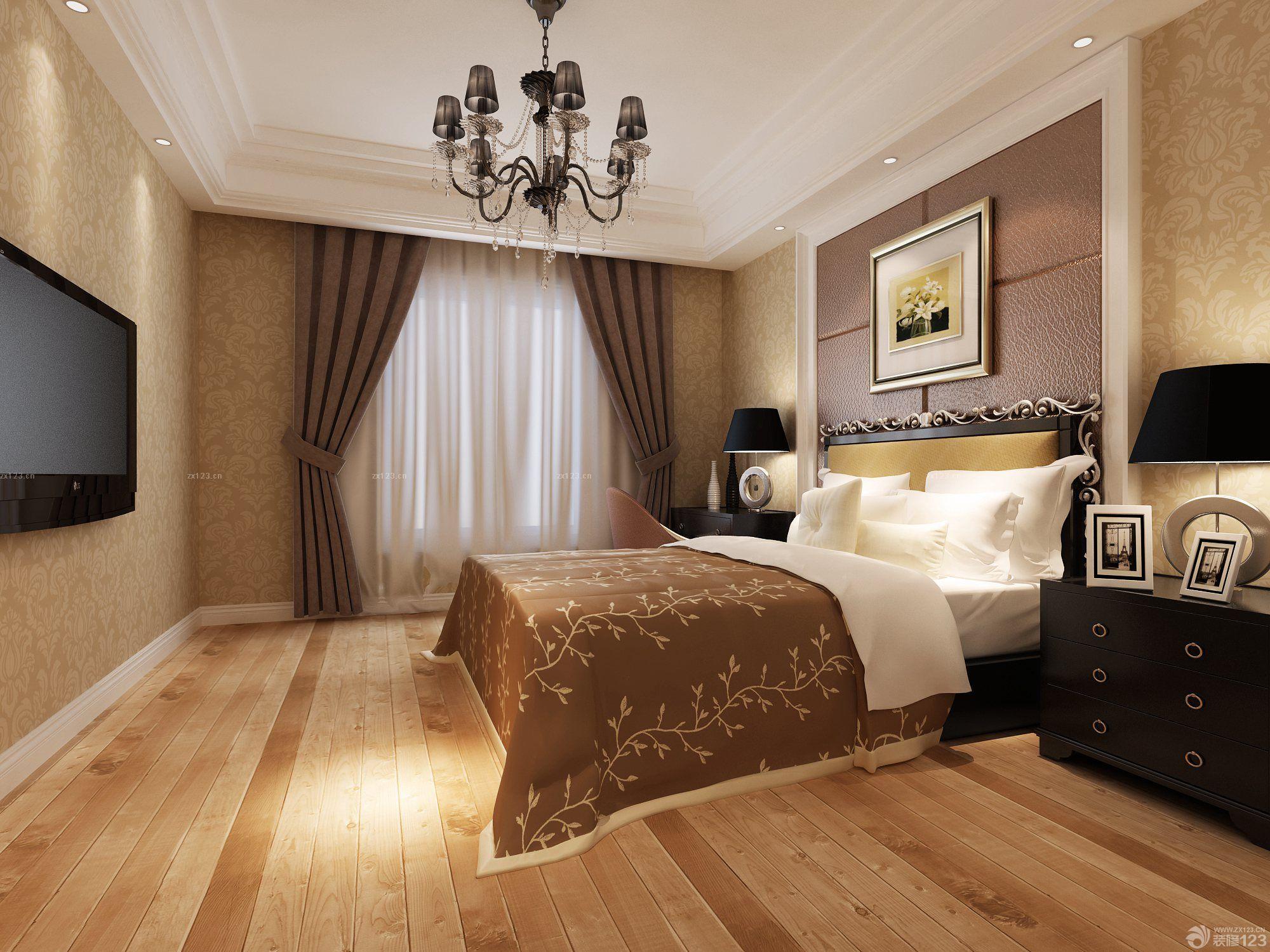 欧式床头背景墙咖啡色墙面装修效果图欣赏