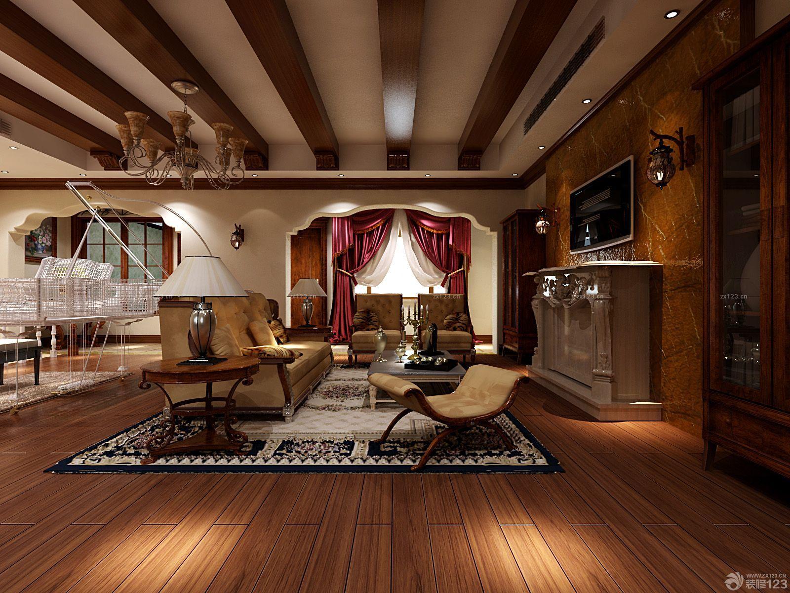 2016美式风格130平米房子生态木吊顶装修效果图欣赏