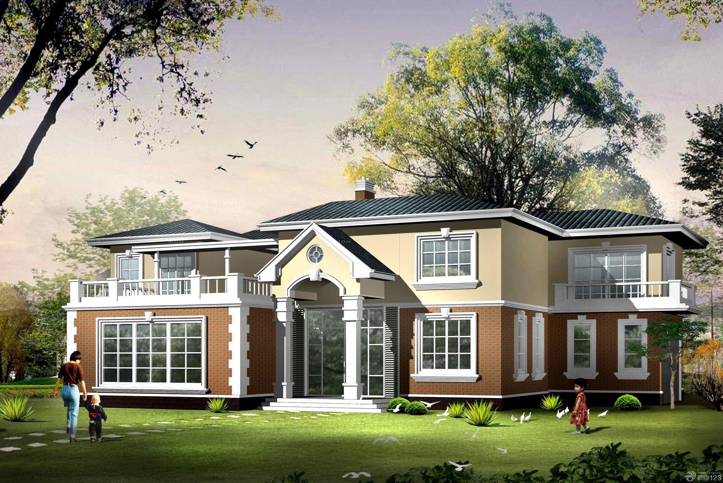 北欧风格120平方别墅外观设计图片大全图片