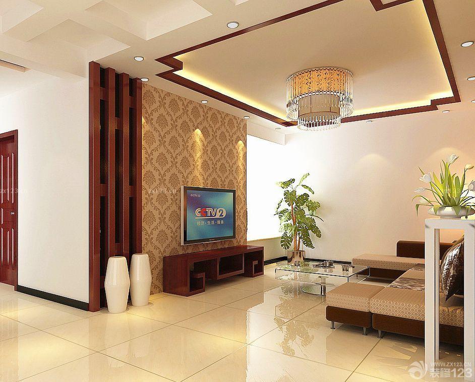 2016新中式客厅电视背景墙壁纸图片