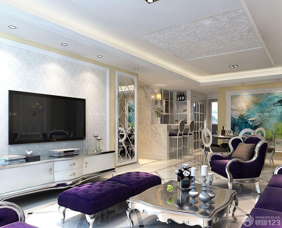 美式风格房子客厅电视背景墙壁纸装修效果图片