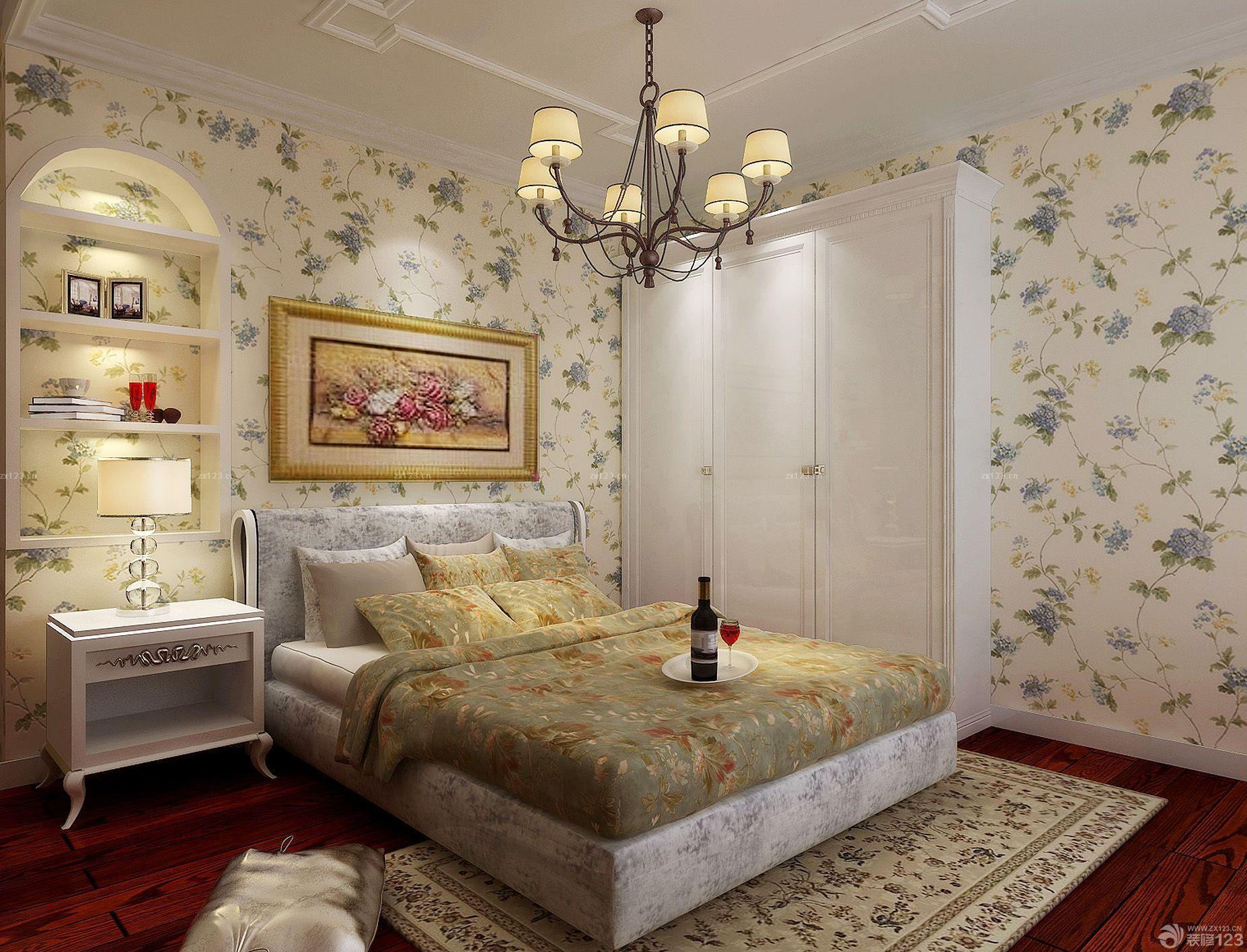 80平卧室壁纸背景墙小户型装修设计图片