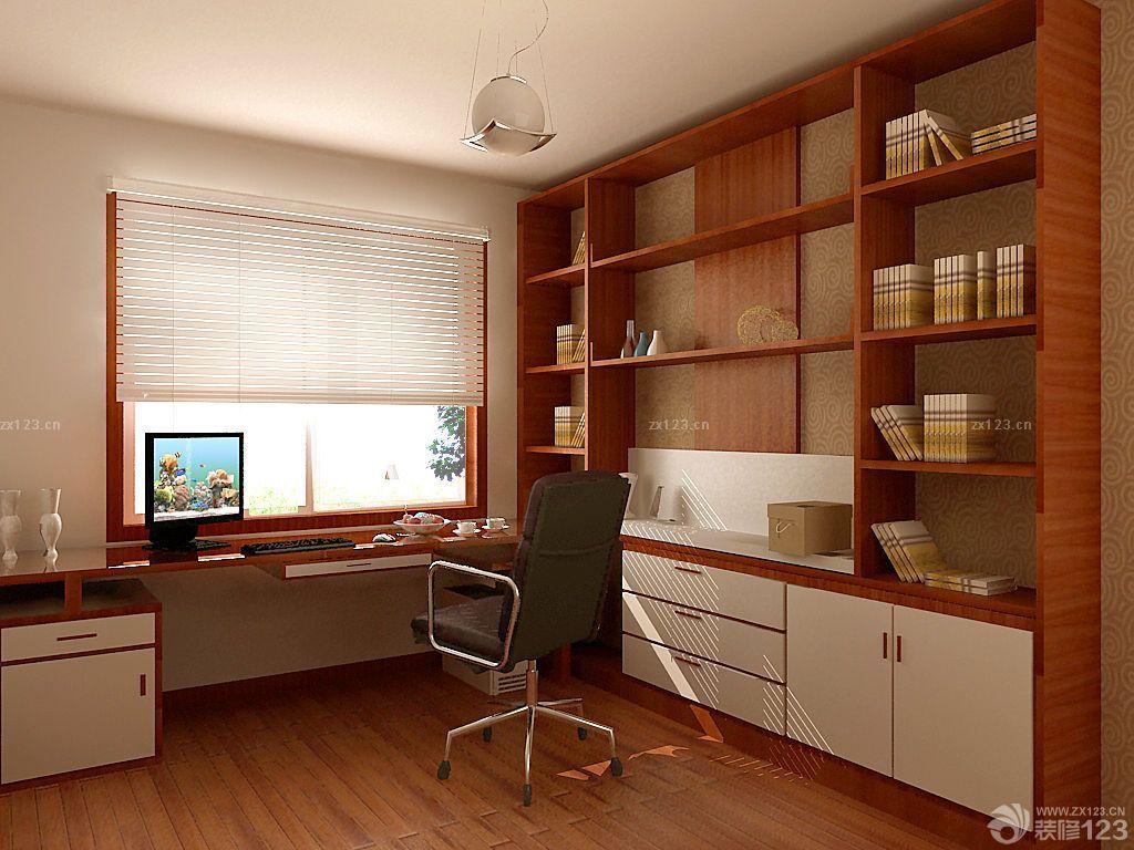 书房书柜装修效果图_现代美式小书房转角书桌书柜装修效果图_设计456装修效果图