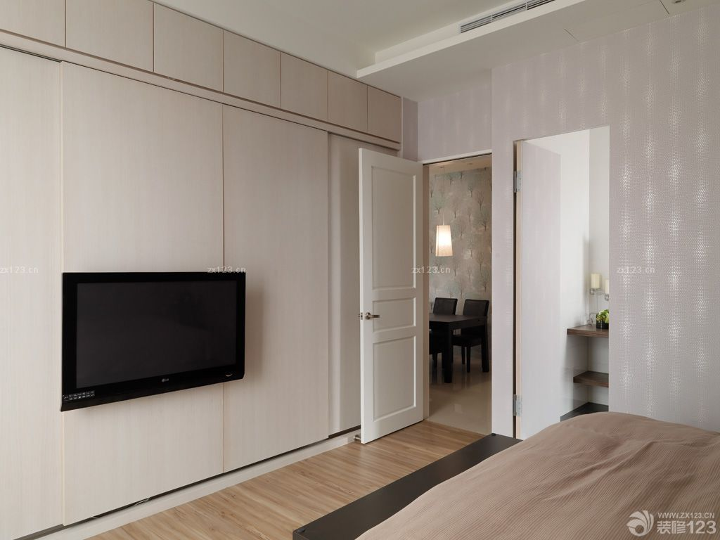 卧室墙面置物架_创意极简风格衣柜移门装修图片欣赏_设计456装修效果图
