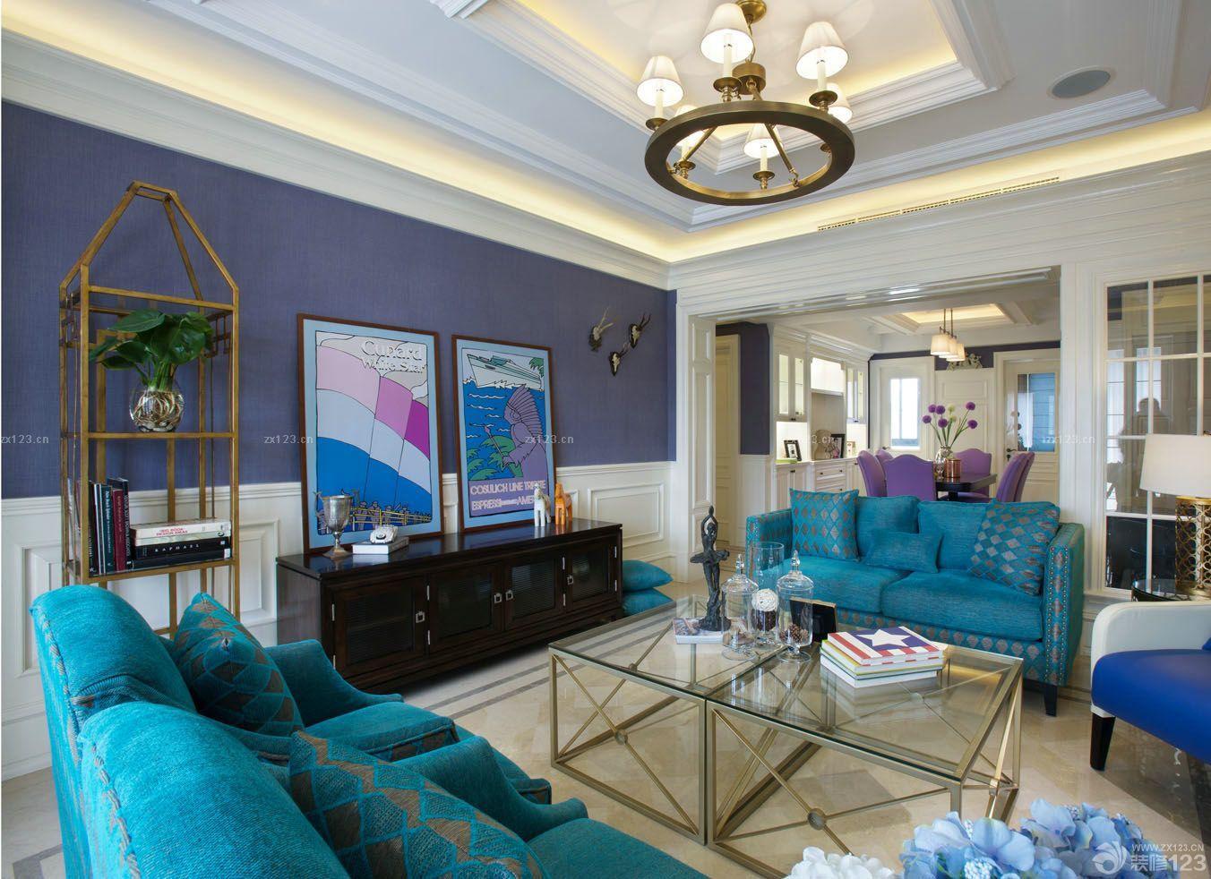 简约欧式客厅天花板贴壁纸装修效果图欣赏