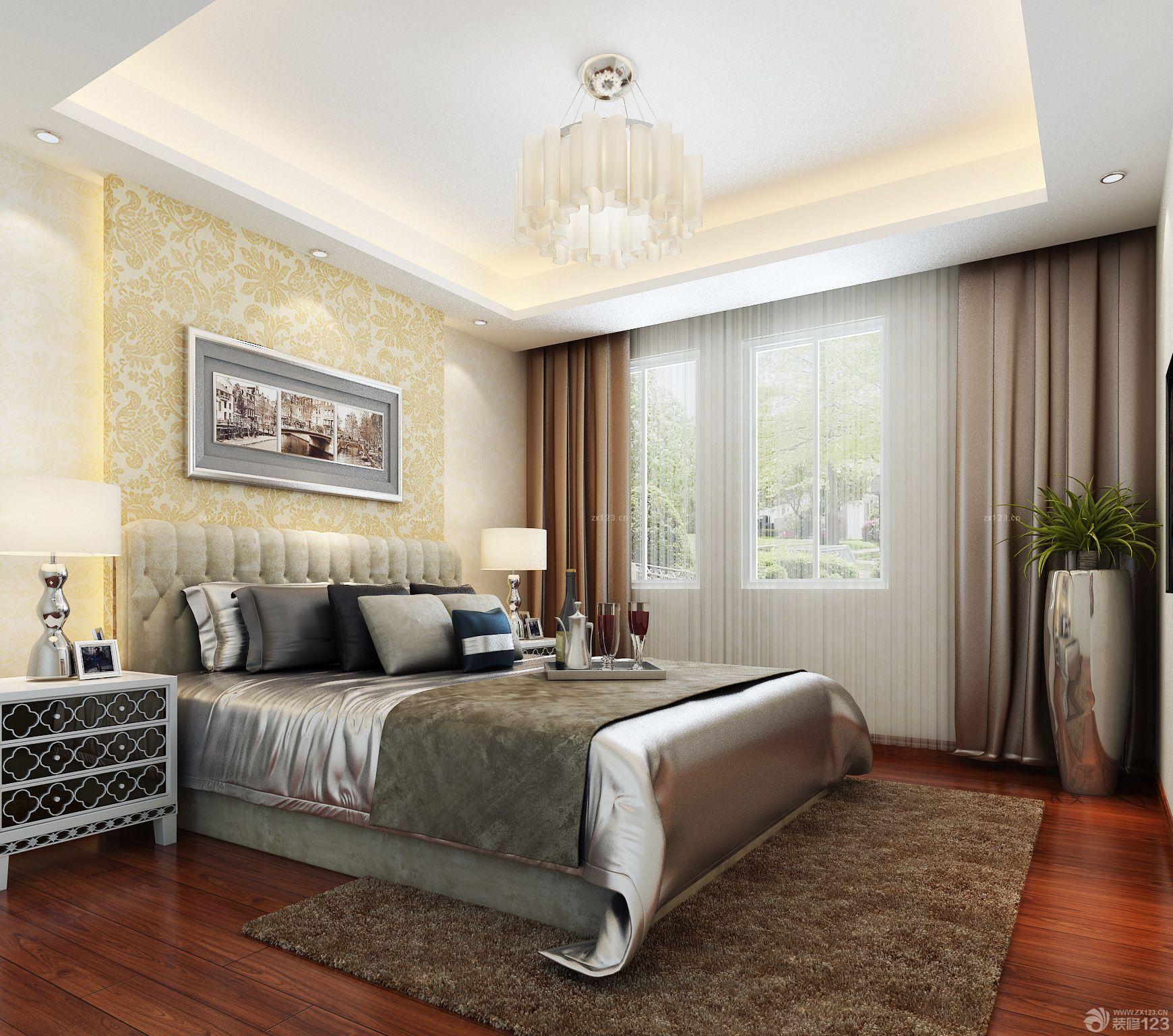 小清新北欧风格卧室窗帘装修效果图片欣赏_设计456装修效果图