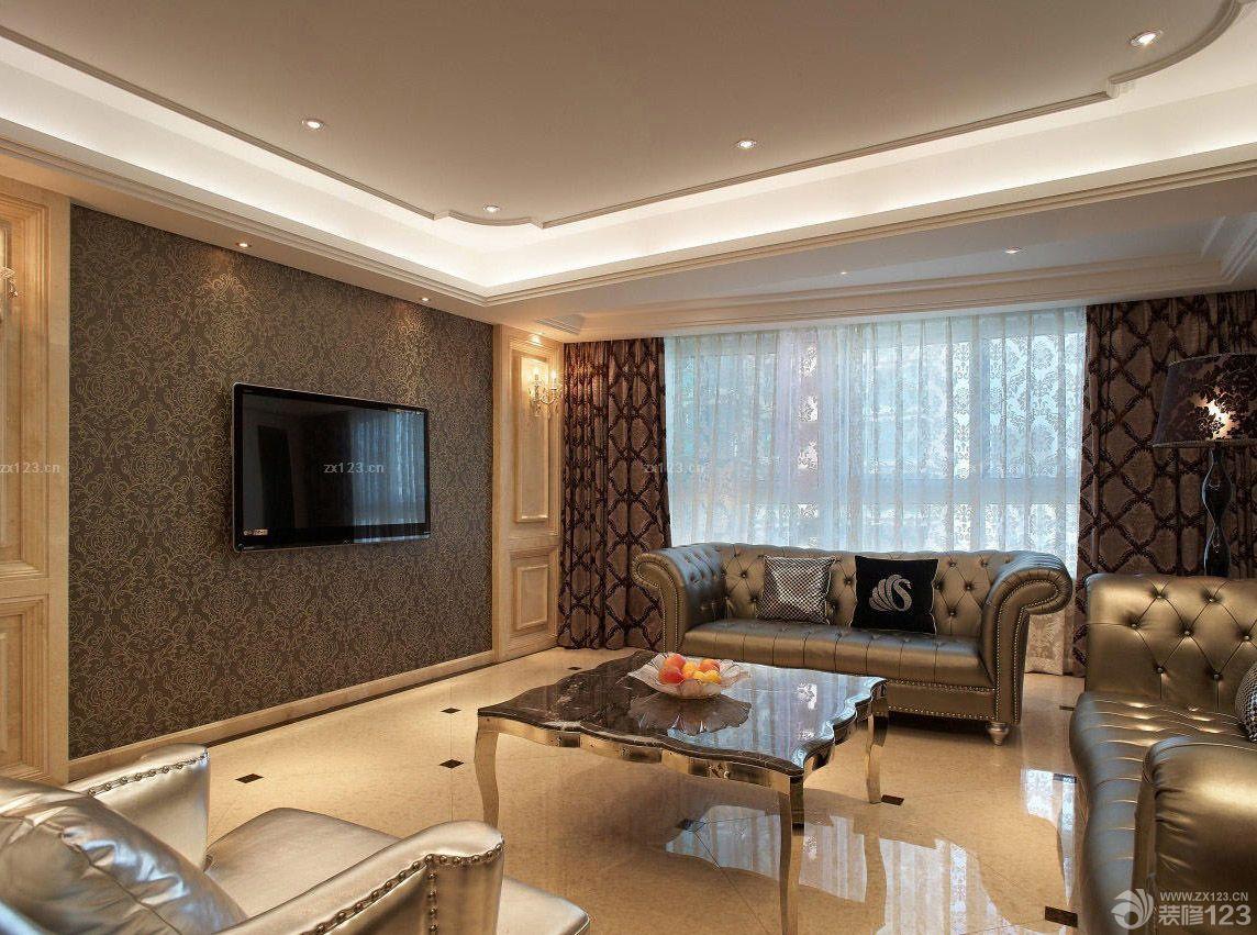 现代欧式风格客厅室内电视背景墙壁纸装修效果图