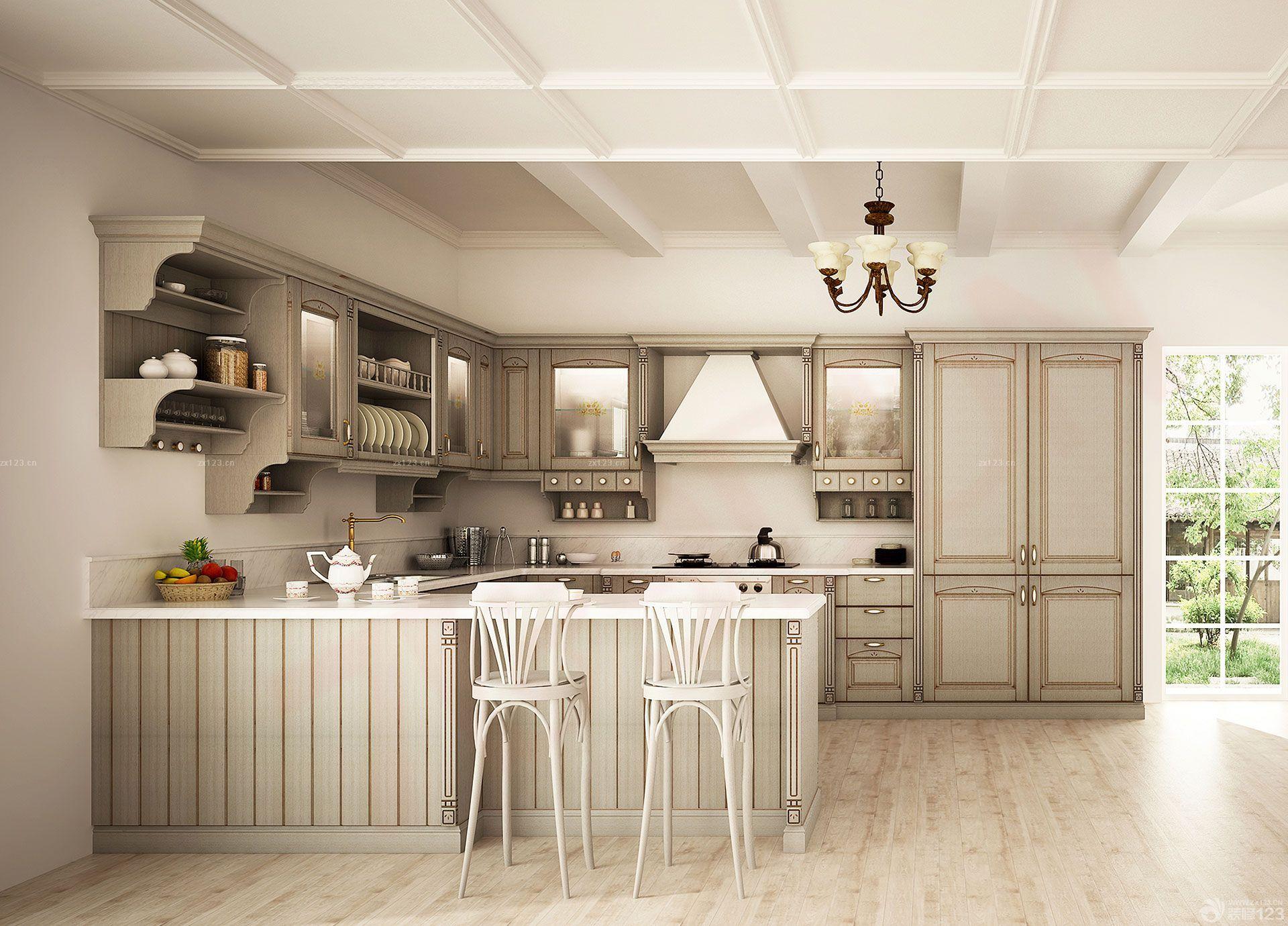 2015国外别墅欧式开放式厨房整体橱柜效果图