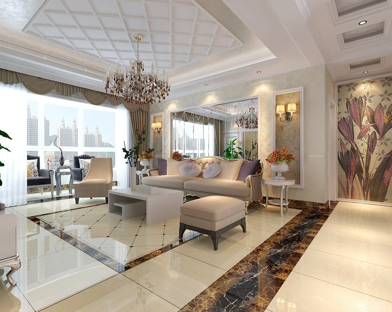 140平米的房子现代欧式客厅波打线装修效果图