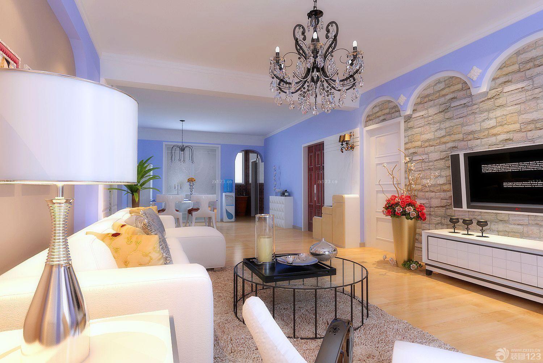 80平米房子仿古砖客厅电视墙装修设计图片大全