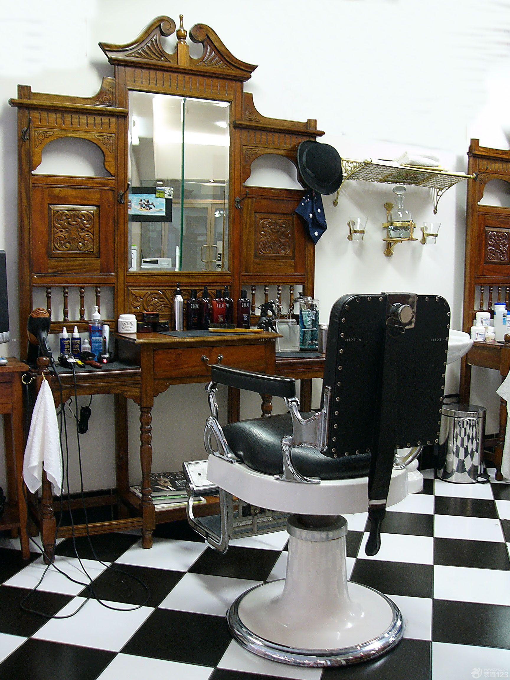 80平方美发店欧式复古风格装修效果图欣赏