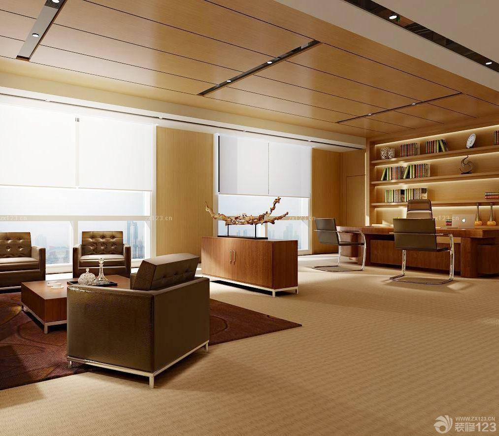 90平米办公室木质吊顶装修图片
