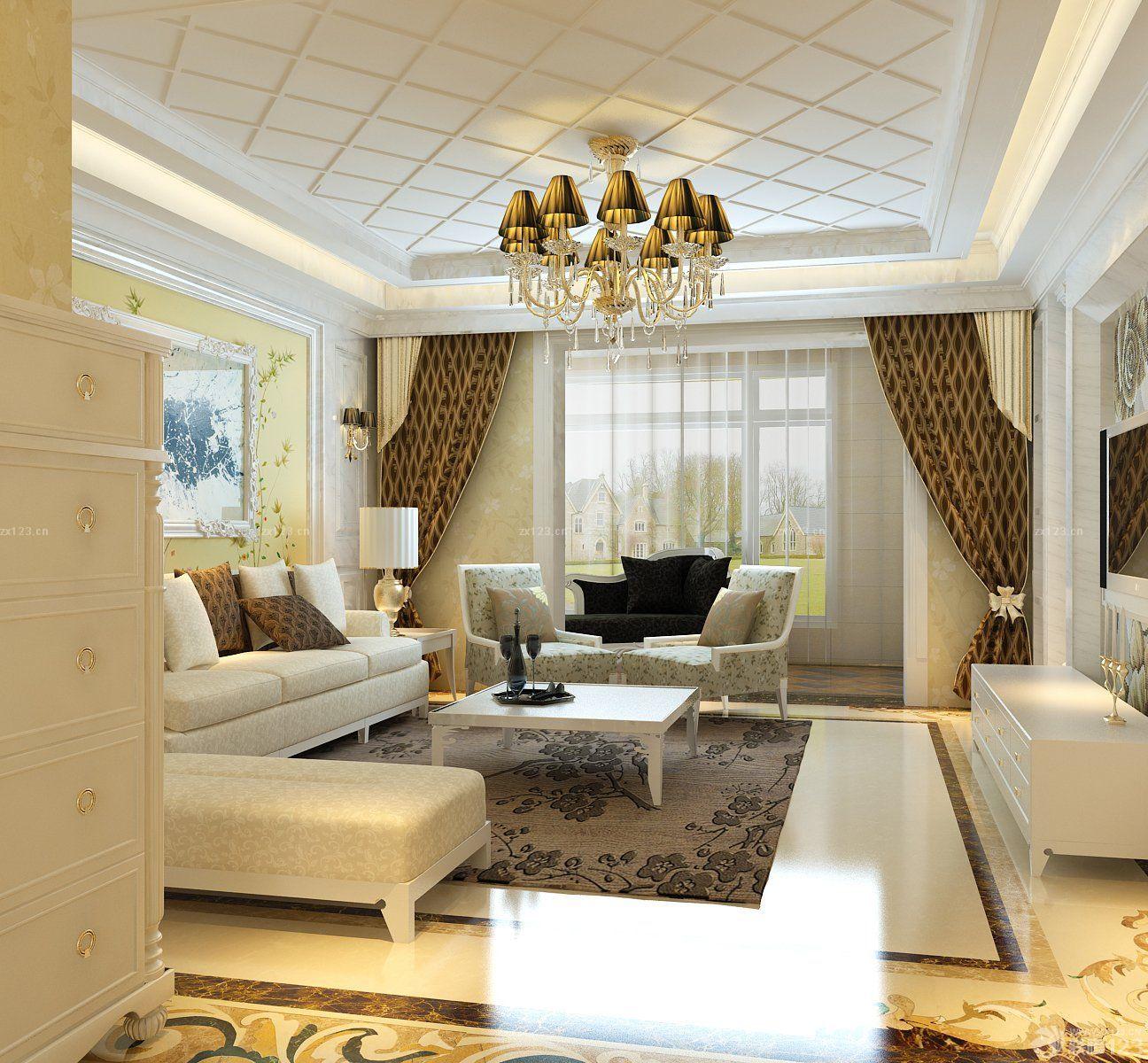 简欧风格家装90平方米房屋客厅装修效果图
