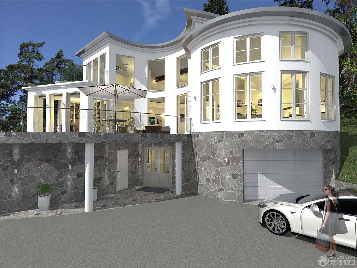 北欧设计风格三层小别墅外观装修效果图片大全图片