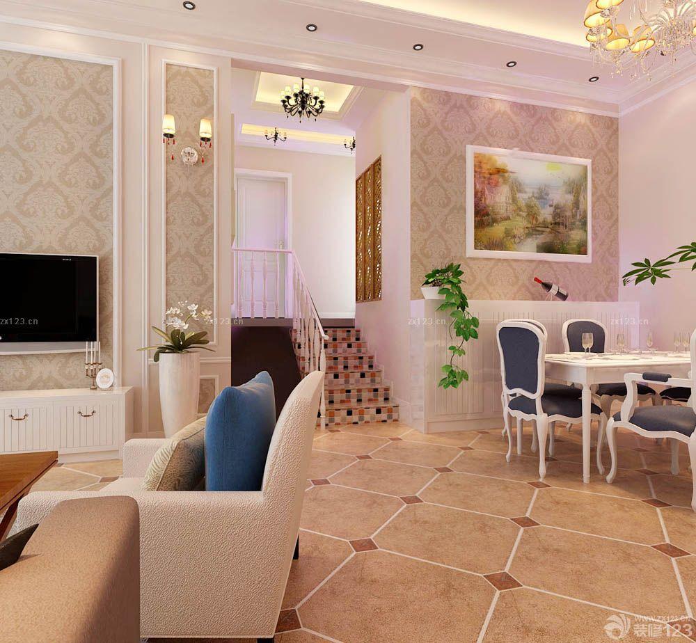 欧式风格客厅小错层楼梯装修效果图片大全