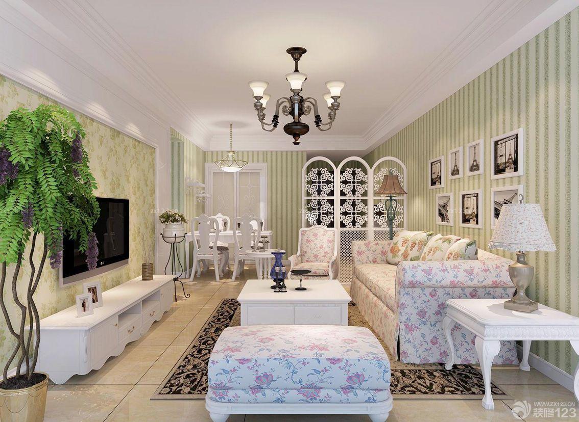 欧式田园风格客厅墙纸装修效果图片大全 2016室内装修效果图 设计456