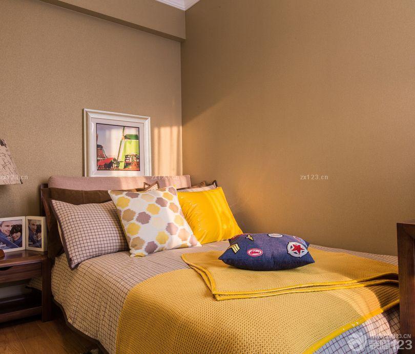 家装90后卧室纯色壁纸装修效果图片