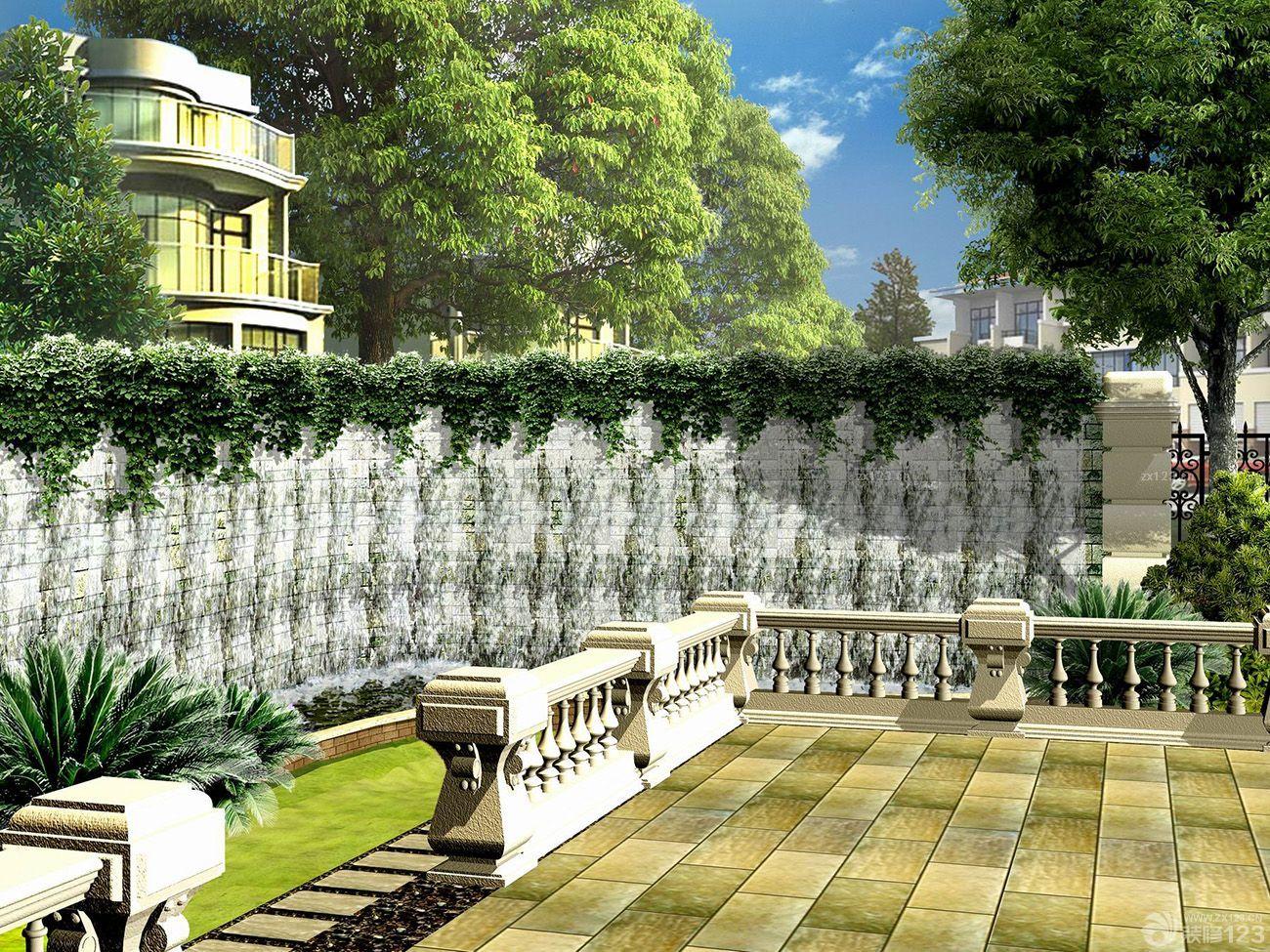 经典欧式别墅花园砖砌围墙装修图片
