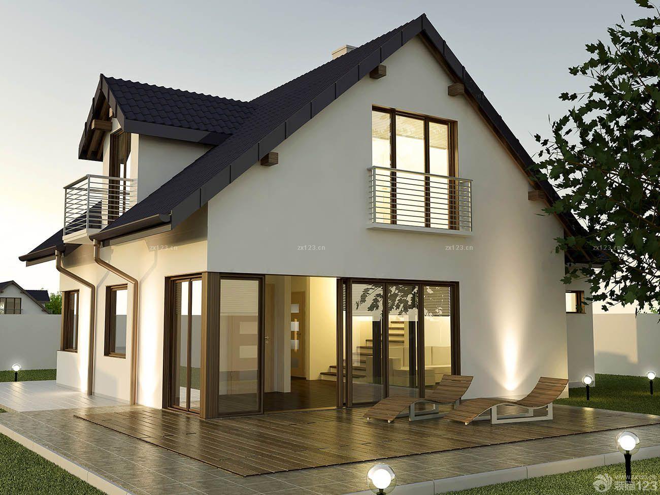现代中式风格独栋别墅外观设计图片欣赏2015