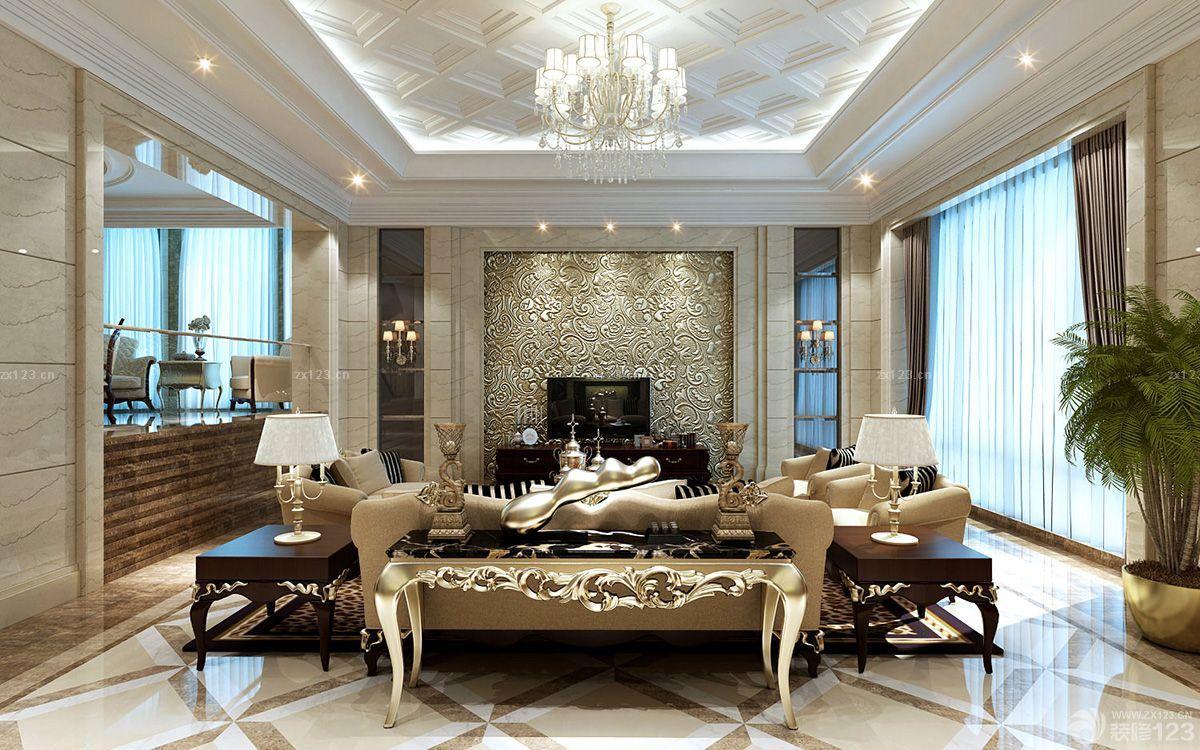欧式别墅装修样板房个性电视背景墙设计