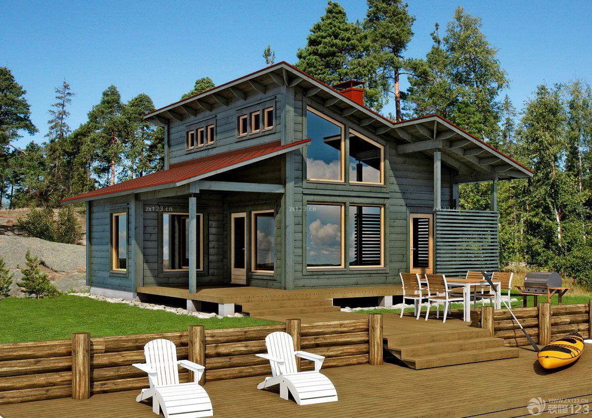 2015最新農村木屋別墅綠色墻面裝修圖片大全