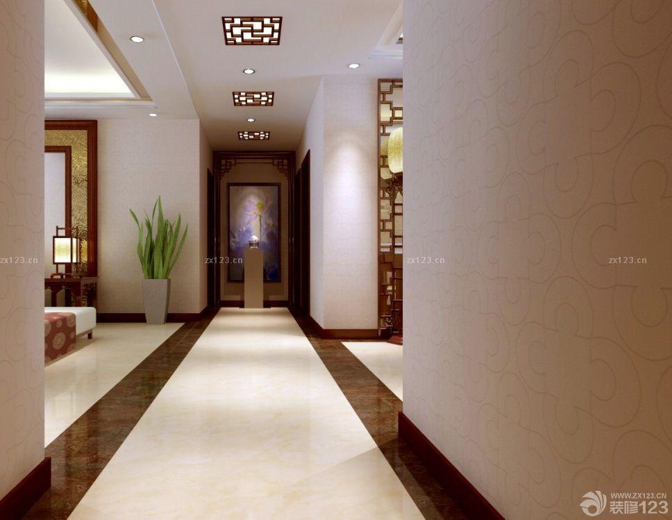 中式风格家装客厅走廊吊顶设计装修效果图欣赏