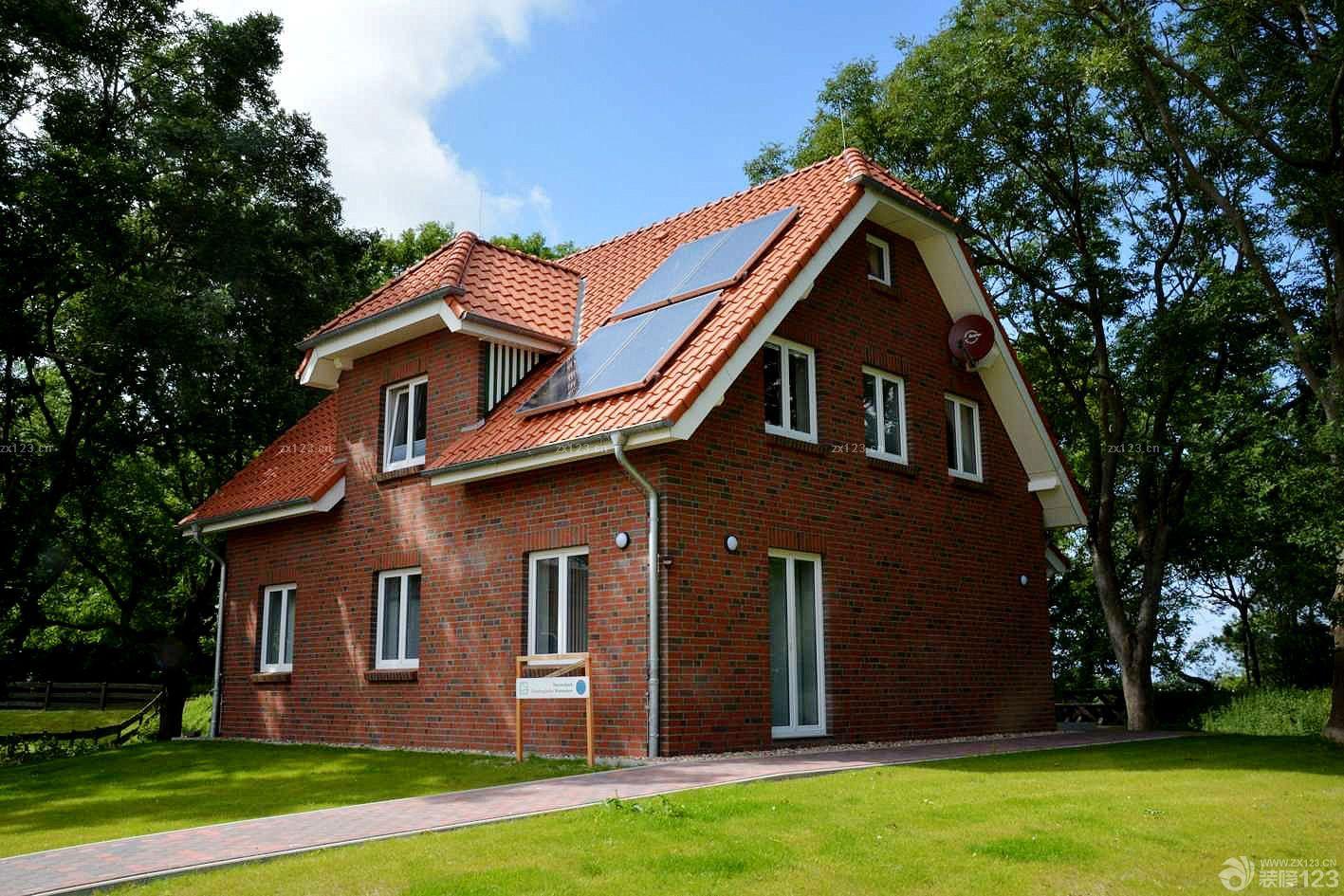 农村简易别墅外观红砖墙装修效果图片