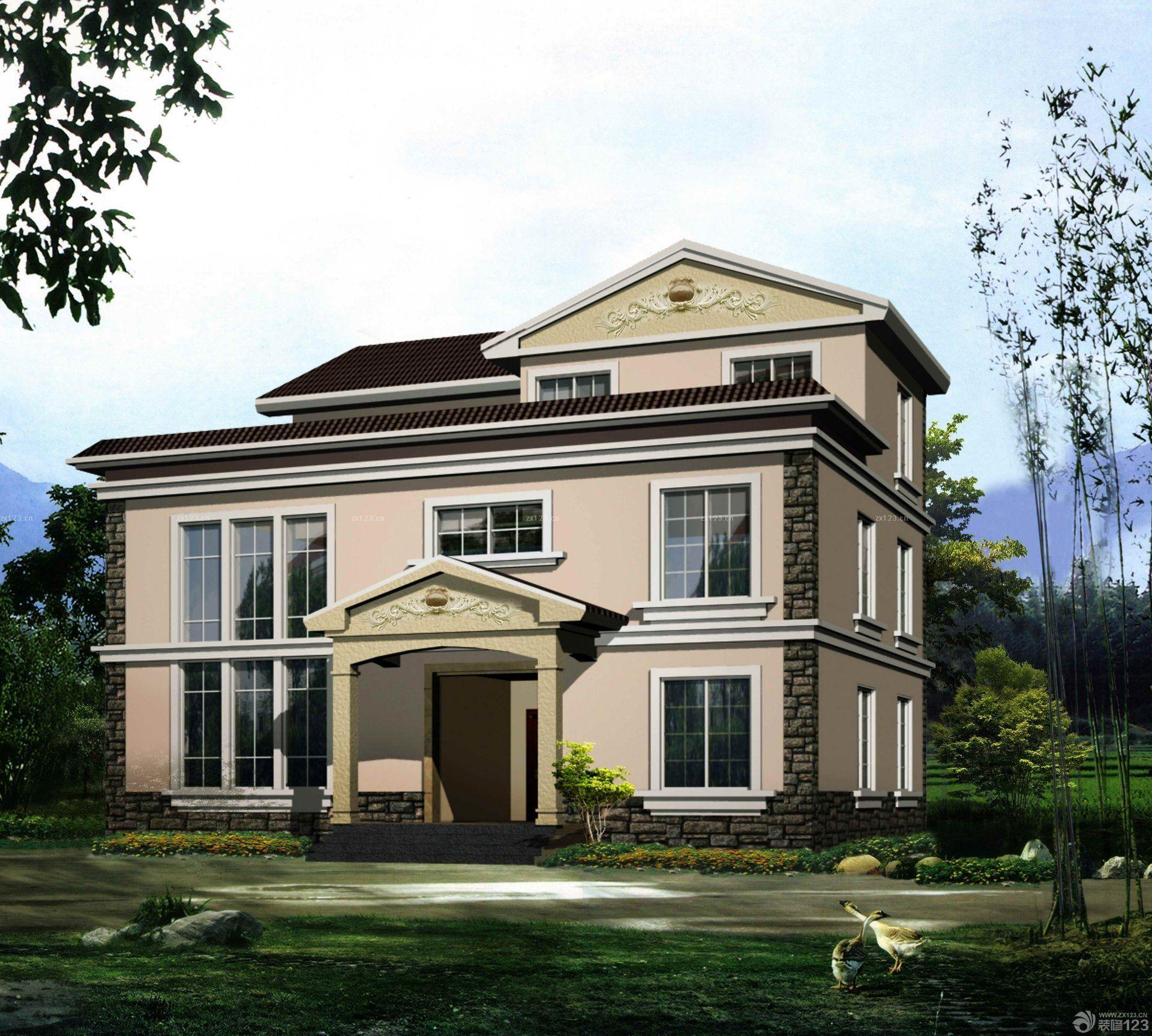 现代风格家装农村2层别墅外观设计图片大全