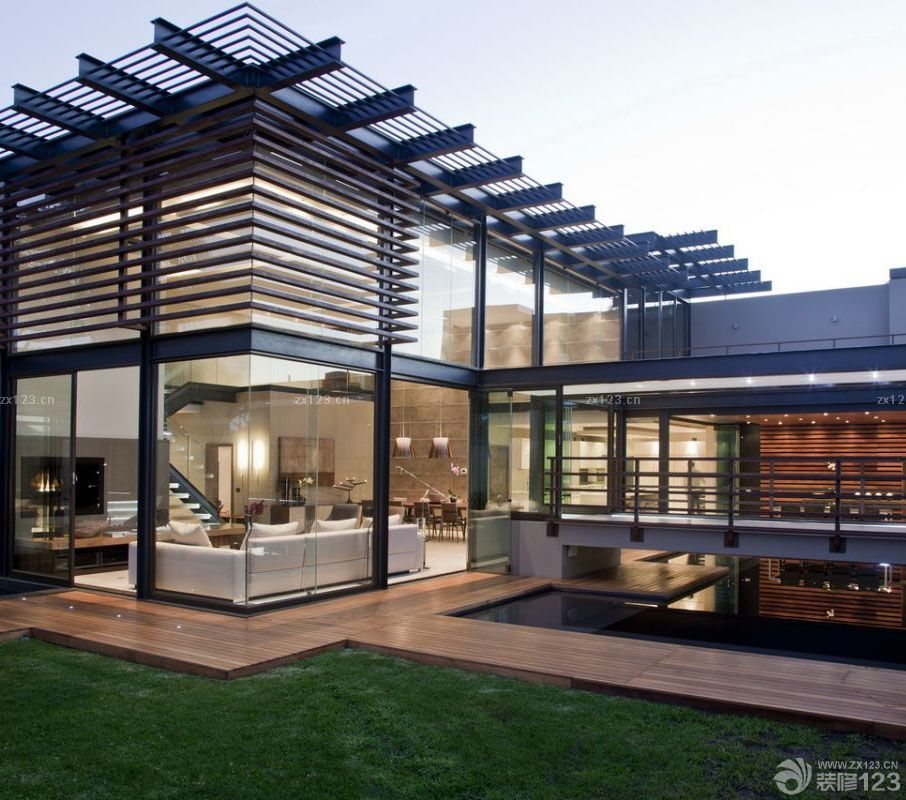 顶级别墅设计玻璃门装修效果图片